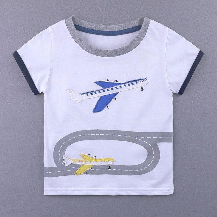 fe2028800ccc Children Summer Baby Boys Cute T Shirts Cartoon Airplane Short ...