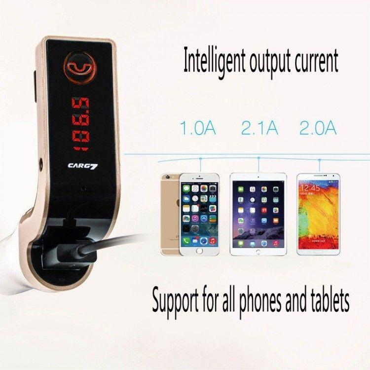 Original G7 FM Transmitter Radio MP3 Player Bluetooth Car Kit Handsfree USB Charger & AUX TF cards slots car FM Transmitters free DHL