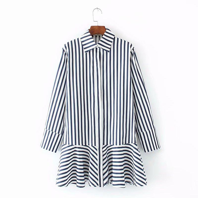 Oversized Plus Size Collar Long Sleeve Blouse Women 2018 Casual Blue ... 1c7be6f40dfe