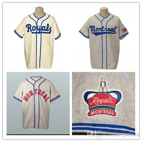 41d95eaf5053 2019 Custom Montreal Royals Old School Road Flannels Jerseys  9 Jackie  Robinson 1946 Gray  5 Roberto Clemente 1954 Cream Home Team Jersey From  Jamas
