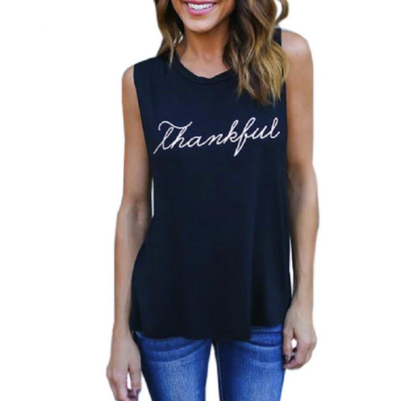 6639191f86 Summer Letter Print Vest Tops Women T Shirt Fitness Casual O Neck  Sleeveless Basic T Shirt Female Beach Loose Poleras Plus Size Buy T Shirts  Online Funny ...