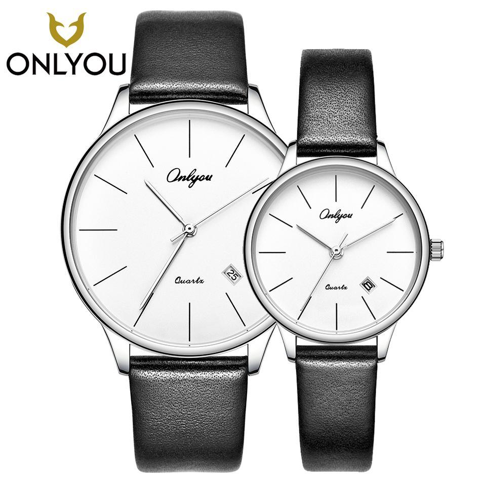 77bb4822d84 ONLYOU Amante Casual Relógios Simples Pulseira De Couro De Quartzo Relógio  De Pulso Casal Presentes Mulheres Vestido Relógio Homens de Negócios Relógio  ...