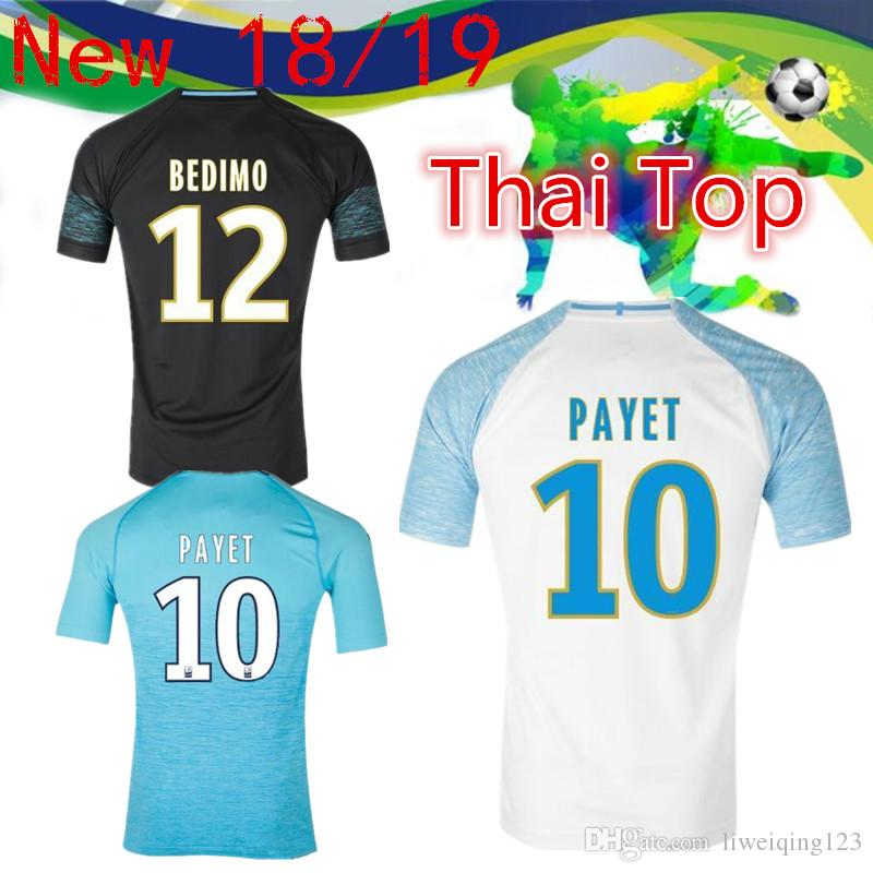 922e749f7 18 19 Marseille 10 PAYET Soccer Jersey 2018 Home 19 L.GUSTAVO 26 ...