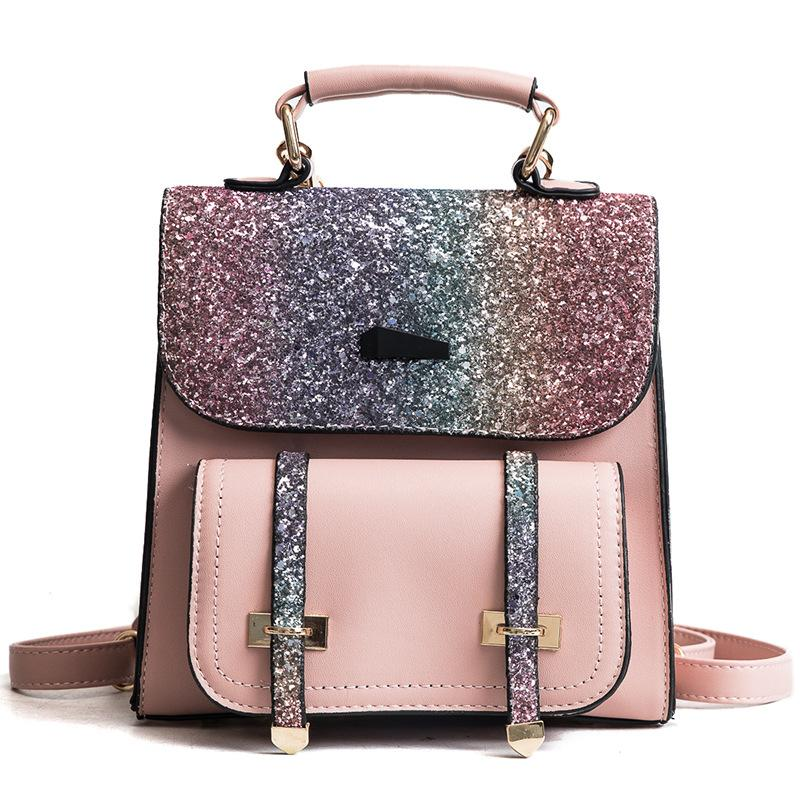 33f423b41ee6 2018 Fashion Women Back Pack PU Leather Backpack Sequins Small Backpacks  For Girls Travel Flap Gold Bag Female Bagpack On Sales Travel Backpacks  Small ...