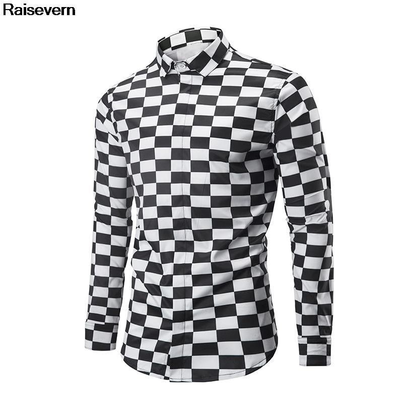 863986d47 2019 New Black White Plaid Shirt Checked Shirt Men Autumn Winter Eur Size  Clothing 2018 New Fashion Long Sleeve Casual Dress From Mujing