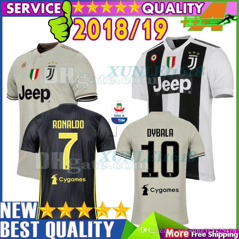 4873b5041 Compre 18 19 Camisolas De Futebol Da Juventus Linha Principal De Estrelas  RONALDO DYBALA MANDZUKIC D.COSTA 2018 2019 Home Away 3ª Camisa De Futebol  De ...