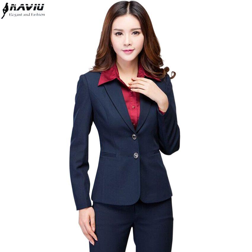 Compre Ropa De Trabajo Mujer Pantalones Traje Otoño Invierno Manga Larga  Dos Botones Blazer Con Pantalones Oficina Damas Trajes Formales Azul Marino  Negro A ... caa9b295ad31