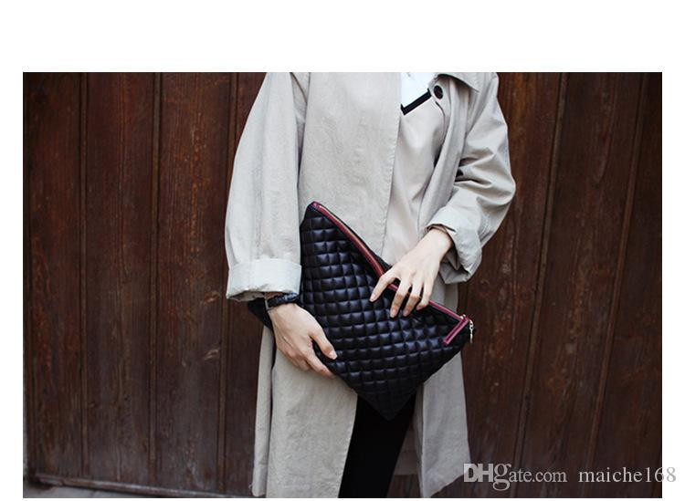 New leather envelope bag fashion wild Ling grid clutch bag high-capacity bags