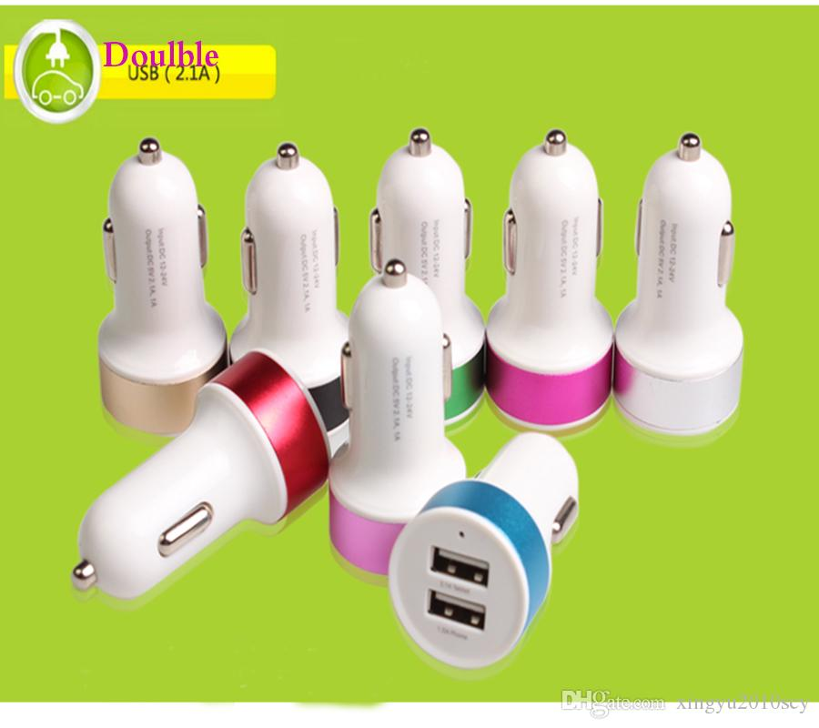 Universal Round Pacifier Type Colorful Metal Side 2.1A Double 2 Ports USB Quik Charger for iPhone Samsung,Huawei,Six Colors