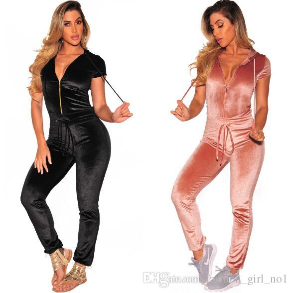 5bc330d37e0 2019 Women S High Quality Casual Sexy Thick Gold Velvet Zipper Sports  Jumpsuit European And American Women S Clothing Rompers From  Fashion girl no1
