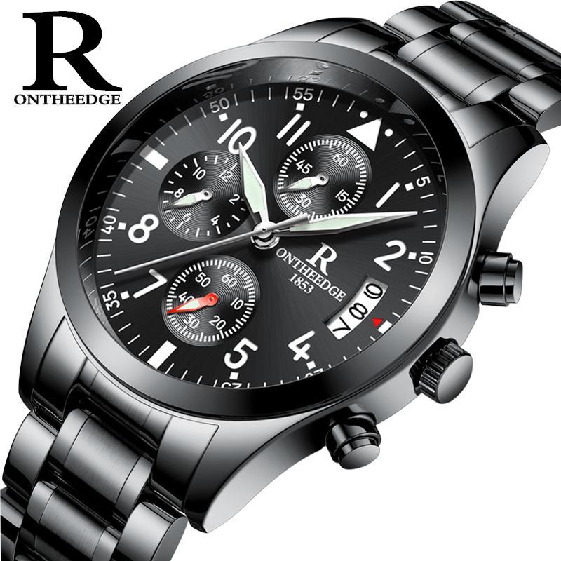 e310d69f2 Compre ONTHEEDGE Reloj Luminoso Negro Para Hombre Cronógrafo Reloj  Deportivo Acero Inoxidable Mariposa Hebilla Hombre Relogio Masculino De  Luxo A $34.88 Del ...