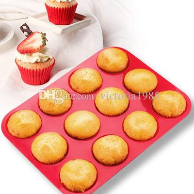 Cup Silicone Muffin Pan &Cupcake Baking Pan Non-Stick Durable Eco--Friendly Silicone Cake Mold Round Mini Muffin Pan Form