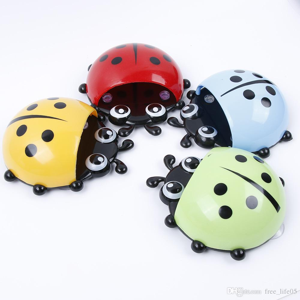 Bathroom Hardware 1pc Cute Novelty Ladybug Toothbrush Holder Toiletries Toothpaste Holder Bathroom Sets Suction Tooth Brush Container Bathroom Shelves