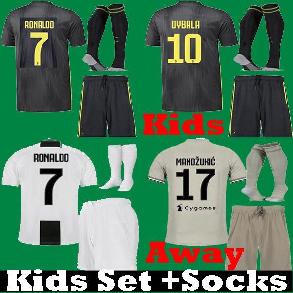 2c3cac43f 2018 2019 Kids Ronaldo Juventus Black BONUCCI DYBALA PJANIC ...