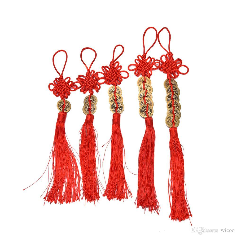 Red Chinese Knot Feng Shui Wealth Success Copper Ancien Coins Lucky Charm Home Car Decoration