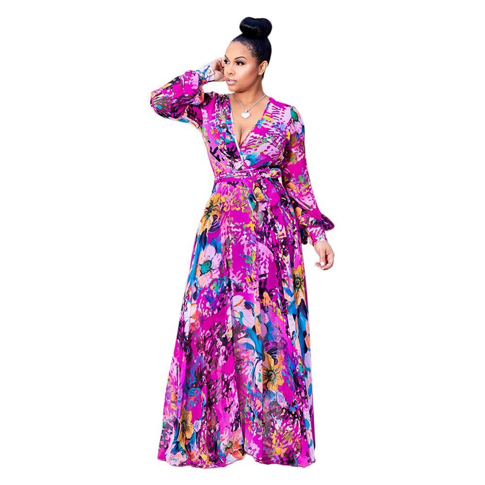 3fee5e787e30f yA600 free shipping new style Women's casual clothing Long sleeved deep V  ice silk chiffon floral dress