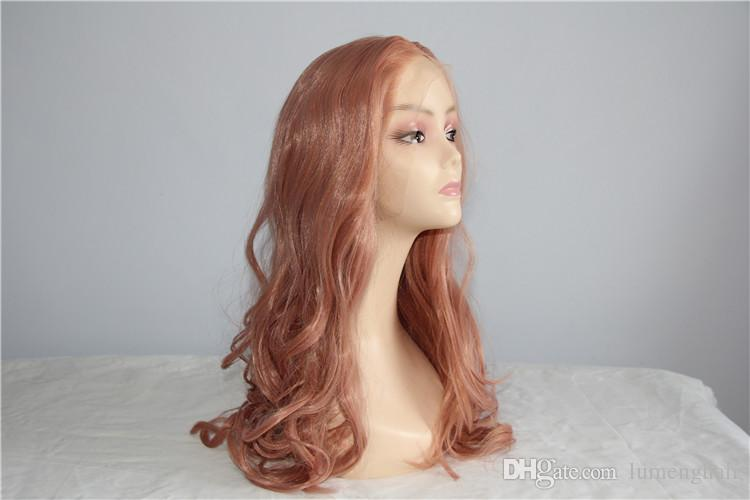 Großhandel Rose Gold Farbe Haar Natur Welle Synthetische Lace Front