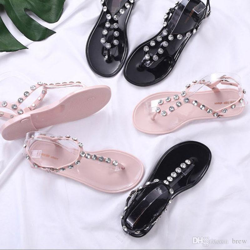 becb918f281db8 New Fashion Slippers Rhinestone Rivet Sandals Bohemia Style Sandals With  Girls Summer Beach Flip Flops For Women Pumps Shoes Shoe Sale From Brew