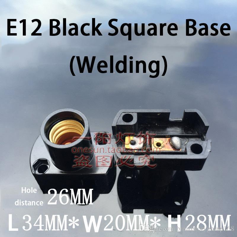 E14 جولة برغي الشيخوخة حامل مصباح E17 ساحة اللحام معرض مصباح قاعدة E12 صغير أبيض أسود ضوء المقبس