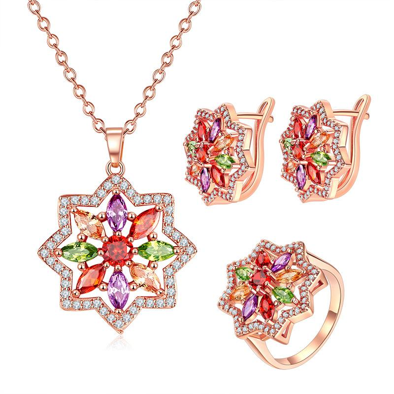 Star Pattern Rose Gold Plated Jewelry Set for Women with High