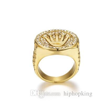 9a781dd718c43 Hip Hop Style Gold Crown rings Men Ring 316L stainless luxury logo dancer  DJ street Gold Color Stainless Steel Fashion Jewelry Wholesale