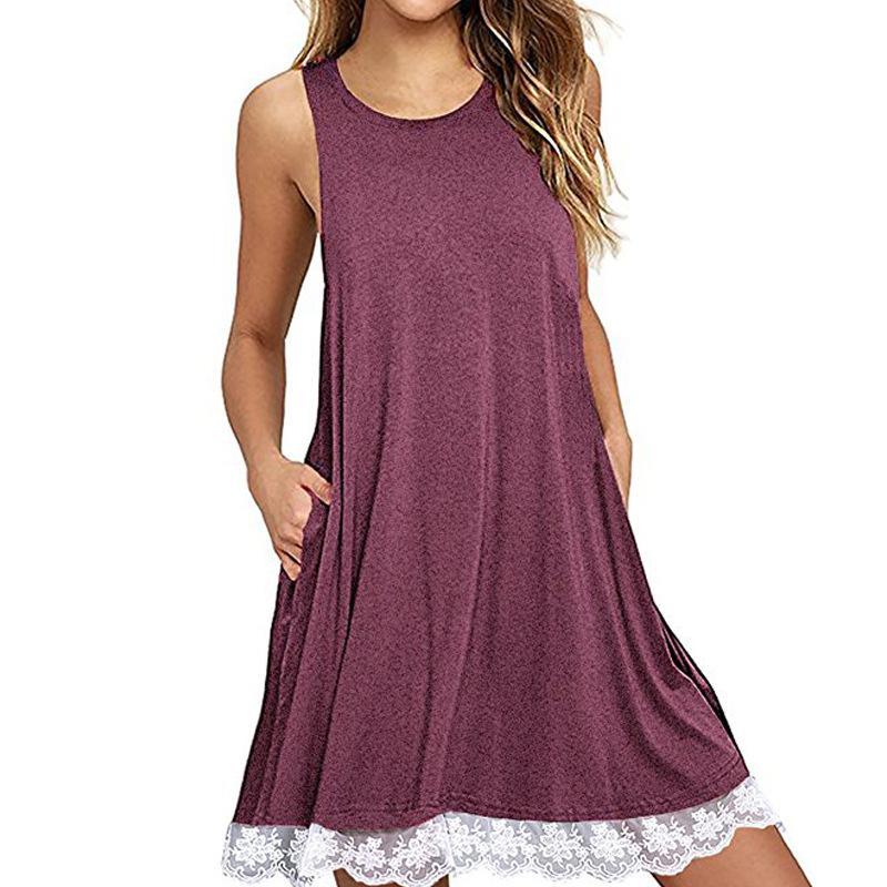 Summer Lace Up Woman Mini Dress Beach Bohemian Sleeveless Round Neck ...
