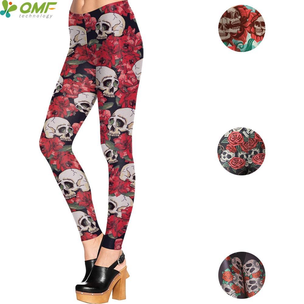 daa2c354d46ad Rose Skulls Print Sports Yoga Leggings Skinny Tights Harajuku Sugar ...