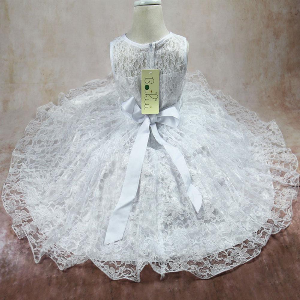 Vestido de las muchachas del cordón del arco de seda gasa vestido de fiesta niños sin mangas de la boda traje de dama de honor