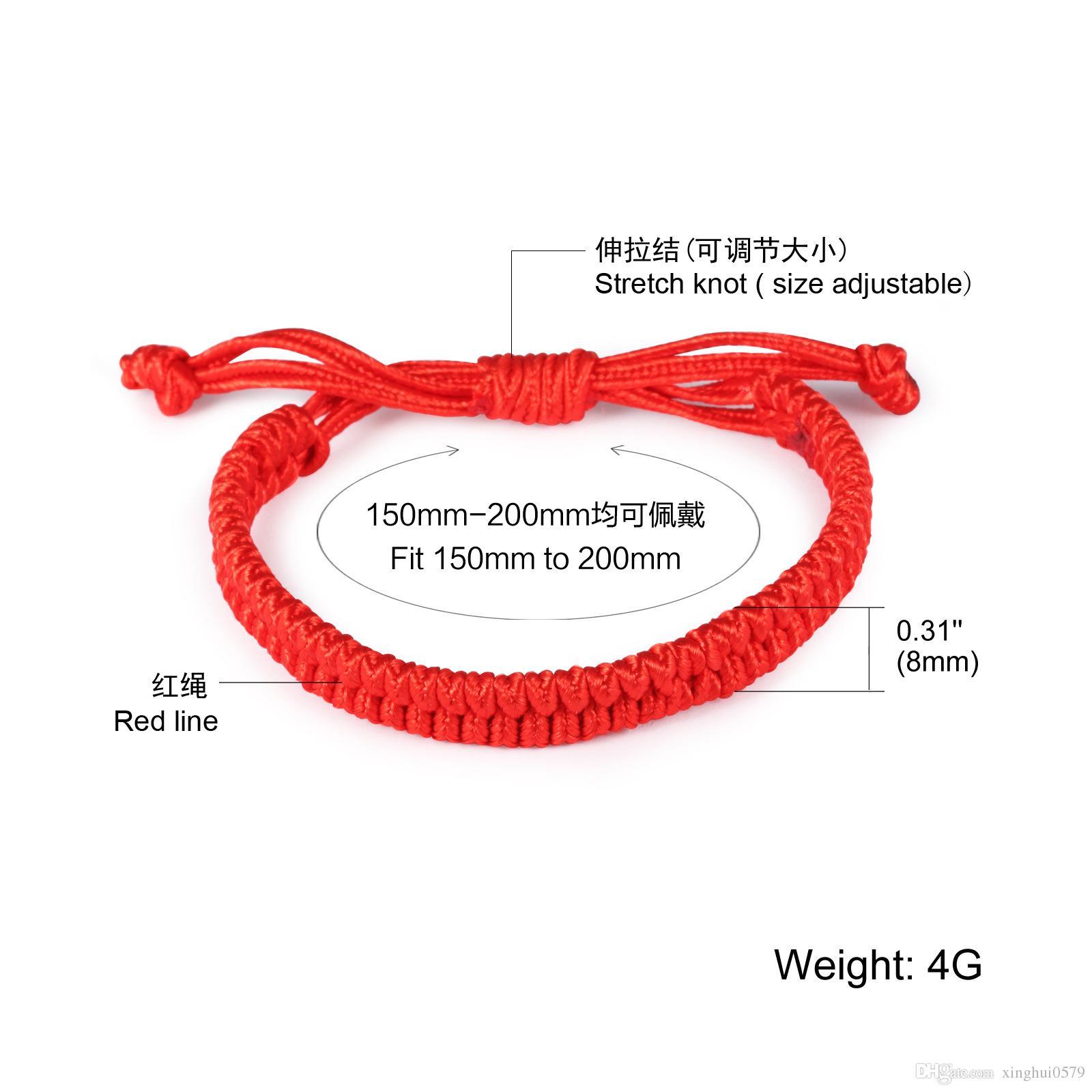 Braccialetto delle ragazze Lucky China Red Rope Beads stile nazionale Kabbalah String intrecciato amicizia braccialetti regolabili