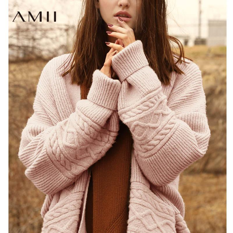 81738a2df60989 2019 Amii Minimalist Cardigan Women Sweater Autumn 2018 Preppy Style Solid  Loose Patchwork Vintage Female Sweater Knitted Coat From Hoeasy