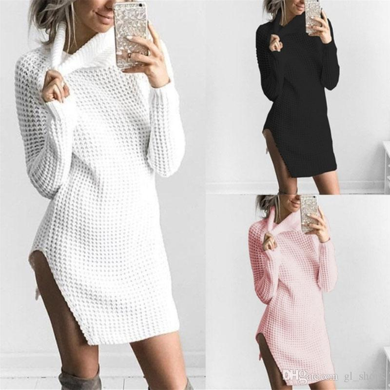 6c204ab9bf328 2018 Spring Autumn Women Autumn Winter Sweater Dress Slim Turtleneck Sexy Bodycon  Solid Color Robe Knitted Dress S XL Sundresses Shift Dress From Gl_shops,  ...