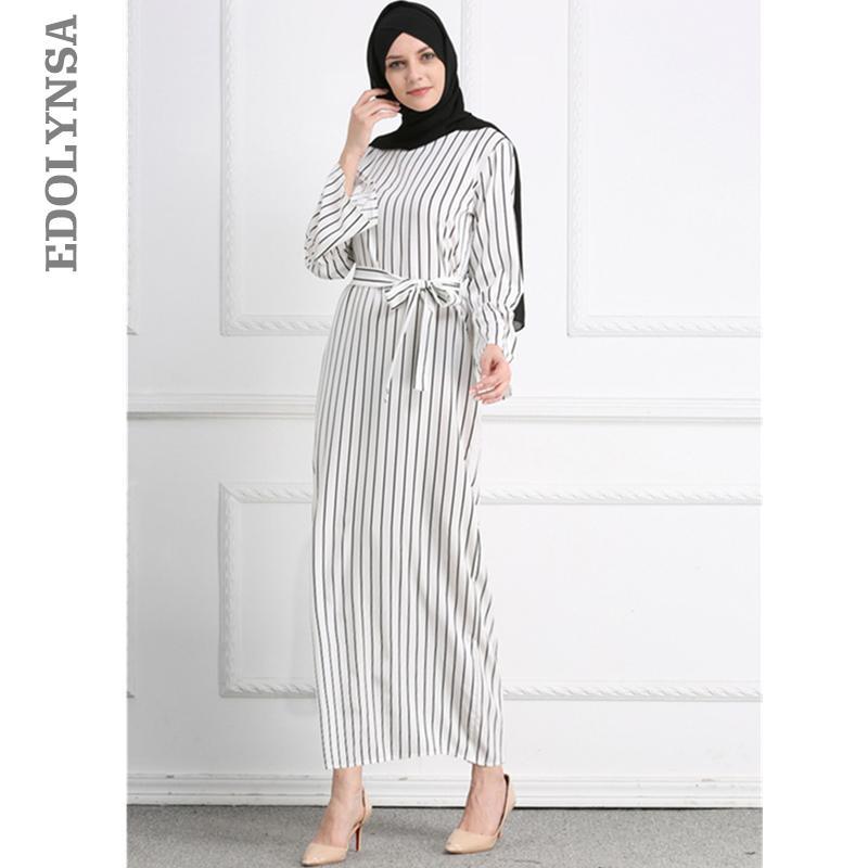 Acheter 2018 Adulte Hijab Abaya Mode Blanc Rayure Ceintures Robe Longue  Musulman Islamique Vêtements Femme Robe Turque Dubaï Kaftan Oman D611 De  $39.77 Du