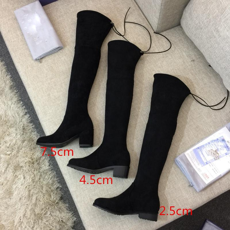af7ac66a32ec 2018 New Arrival Luxury Women s Slim High-heeled Stretch Leather Stovepipe  Long Tube Thicken Keep Warm Knee High Boots with Original Box Shoes Boots  Knee ...