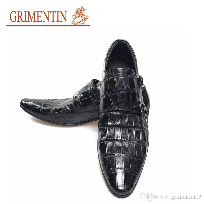 Cheap Sale Mens Genuine Leather Pointed Toe Buckle Leather Shoes Crocodile Print Oxfords Business Man Wedding Shoes Formal Dress Shoes Shoes Formal Shoes