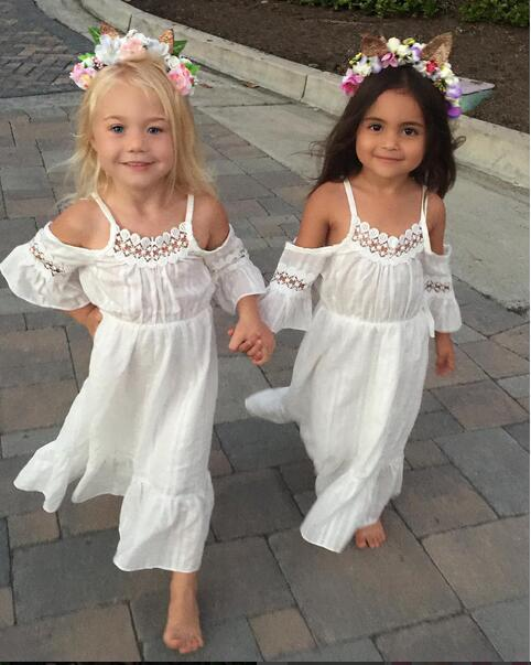 2018 Summer Princess Wedding Bridesmaid Flower Girl Dress for Child Wear Kids Clothes White Party Tutu Dresses for Girl Clothes