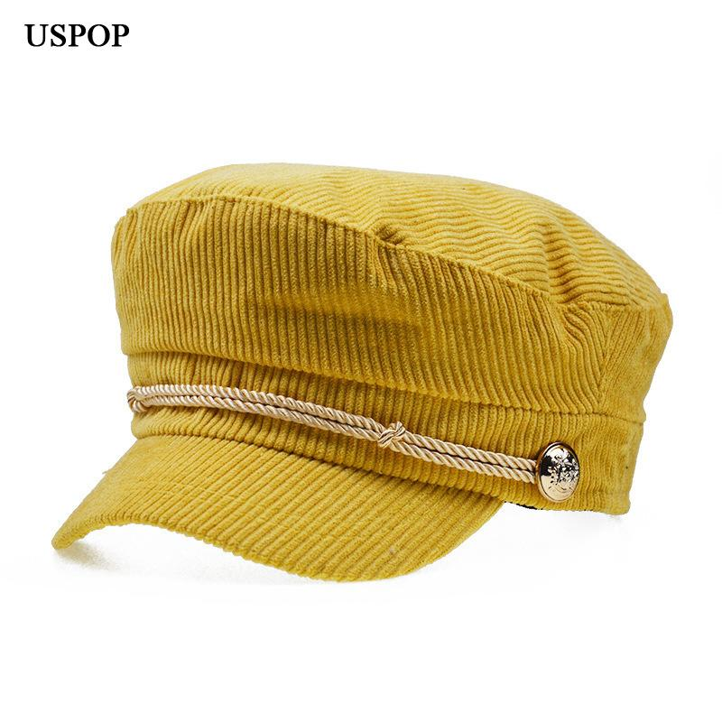 f4876bd6d5c USPOP 2018 New Winter Warm Hat Fashion Women Solid Color Corduroy Newsboy Caps  Flat Top Visor Caps Retro Octagonal Hat Berets UK 2019 From Spectalin