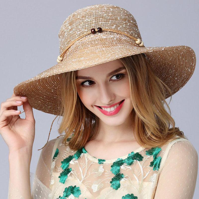 2aa57d80f27 New Style Women s Outdoor Beach Sun Hat Female Waves Large Brim Suncap Sun  Flower Knitted Big Cap JN011 Trucker Hats Boonie Hat From Fashionkiss