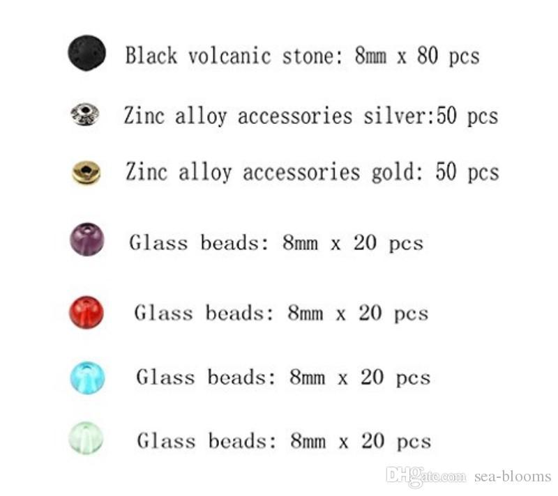 8 мм Лава камень бусины сплав цинка стекло бисера сочетание набор 260 шт. смешанные бисером для ручной работы из бисера браслет ожерелье D830L
