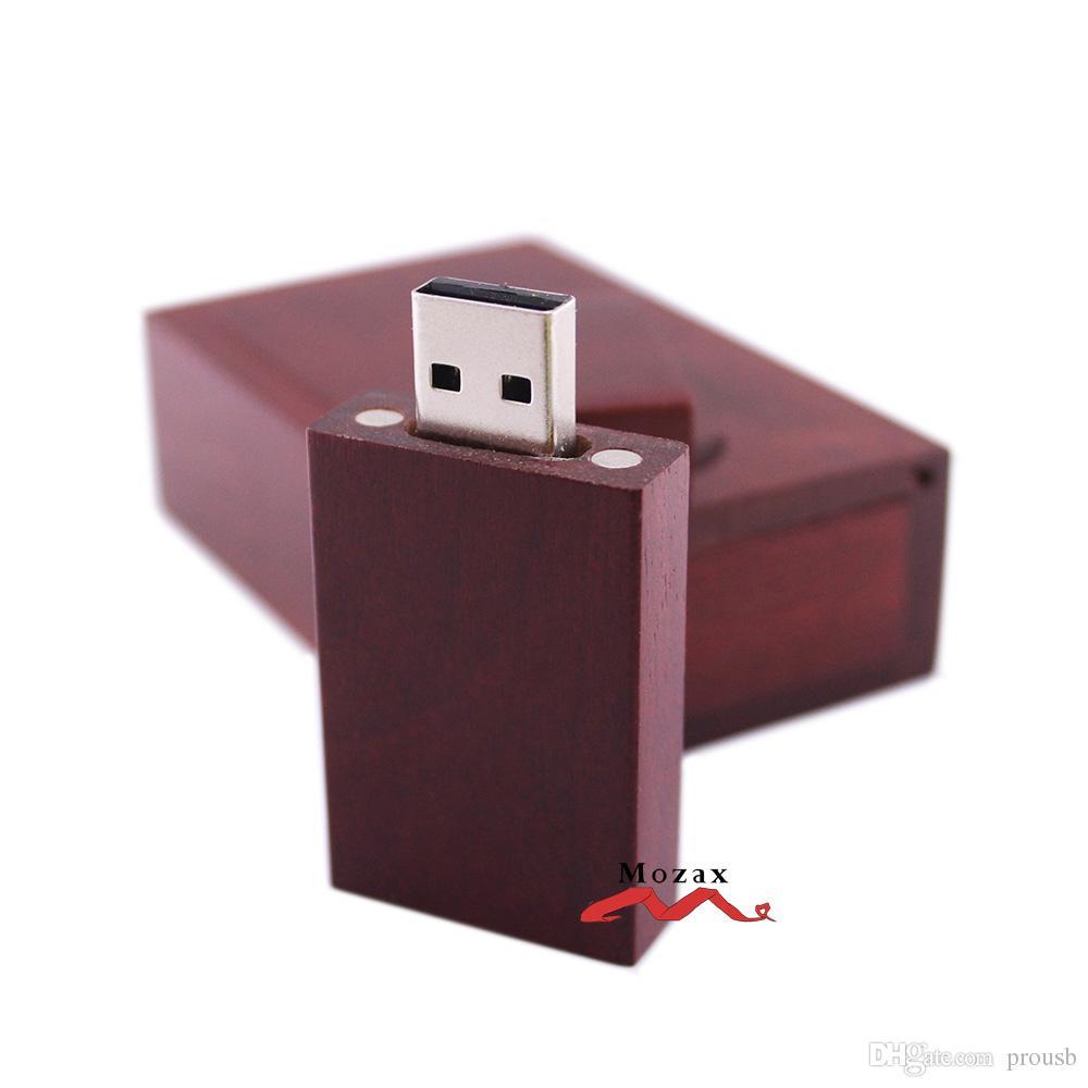1GB 2G 4GIGA 8GB 16GB Memoria USB de madera Memorias USB 2.0 Almacenamiento verdadero Pendrives Sticks + Estuche de madera para personalizar logotipo