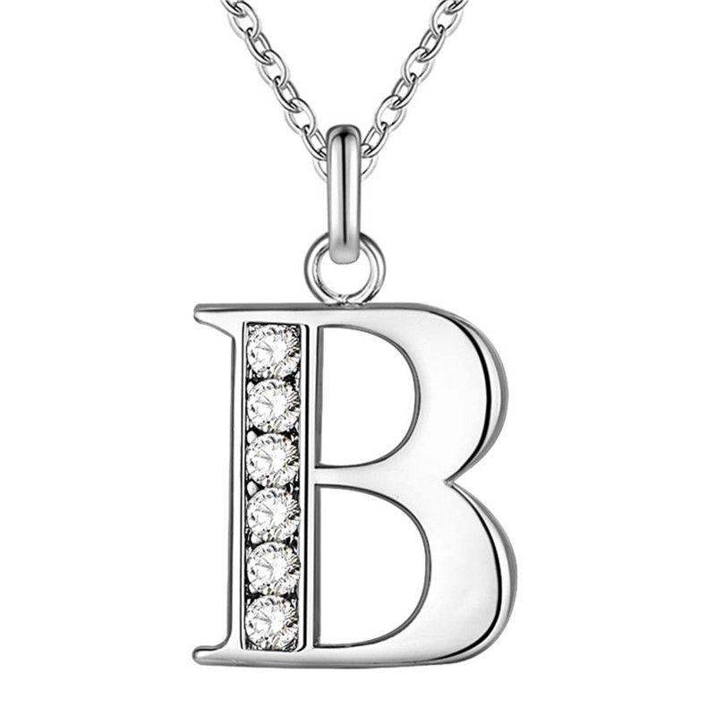 Création 26 lettres A-Z Crystal Bijoux Pendentif Colliers Silver Couleur pour Womens Fashion Bijoux pas cher