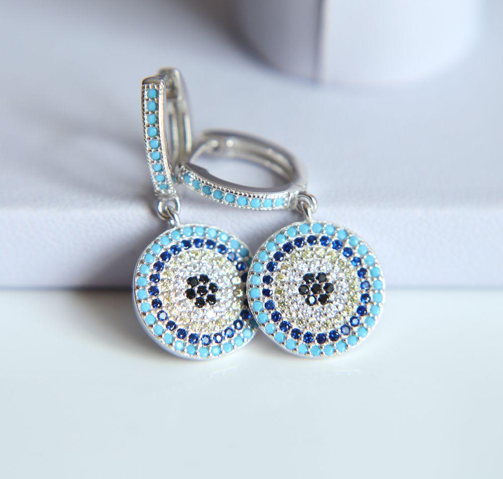 925 sterling silver luxo mulheres jóias cor de ouro turkish mal olho micro pave nano turquesas oscila disco charme brinco