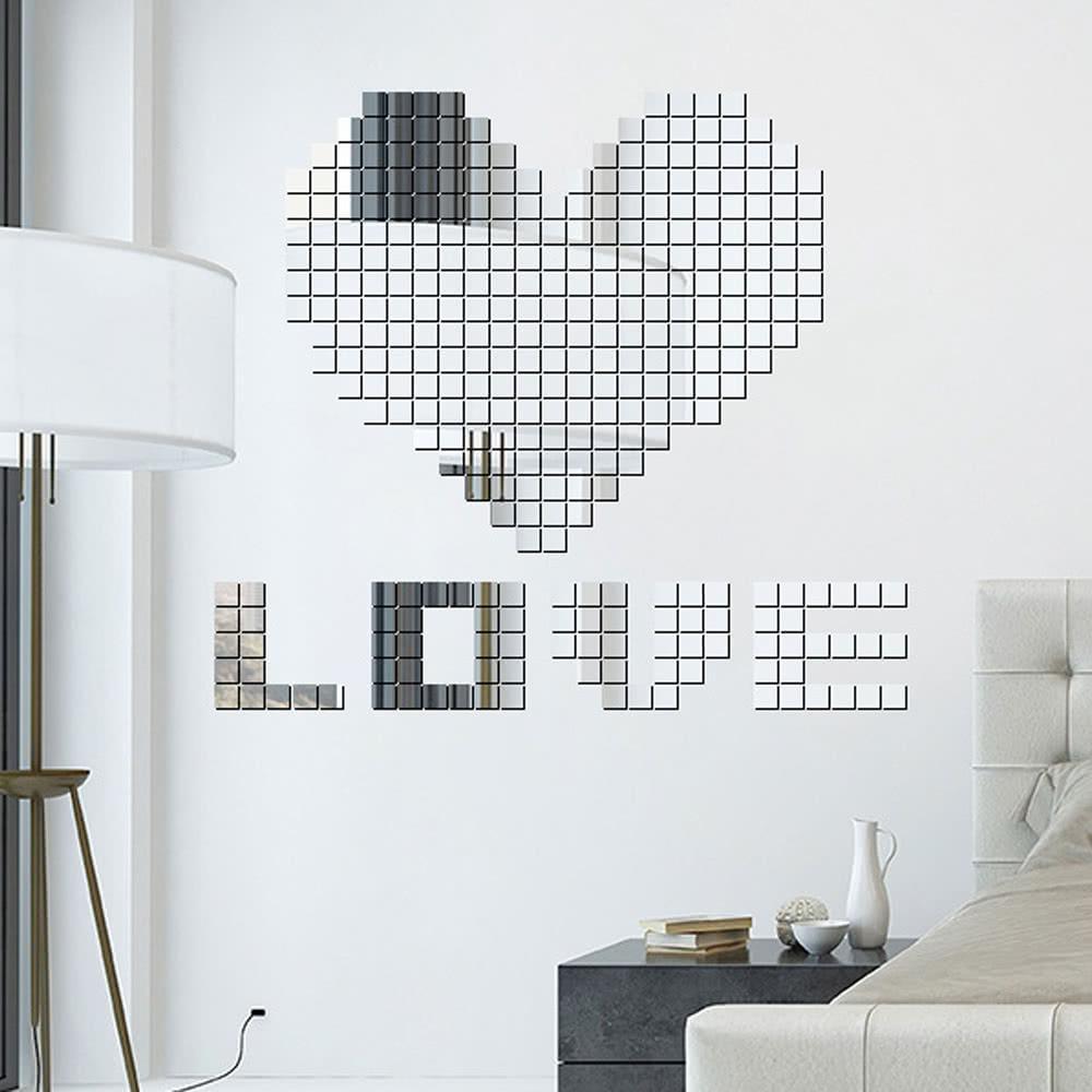 H18290S 100PCS vendita calda design moderno adesivo mini quadrato 3D fai da  te specchio a parete per camera da letto cucina decorazione