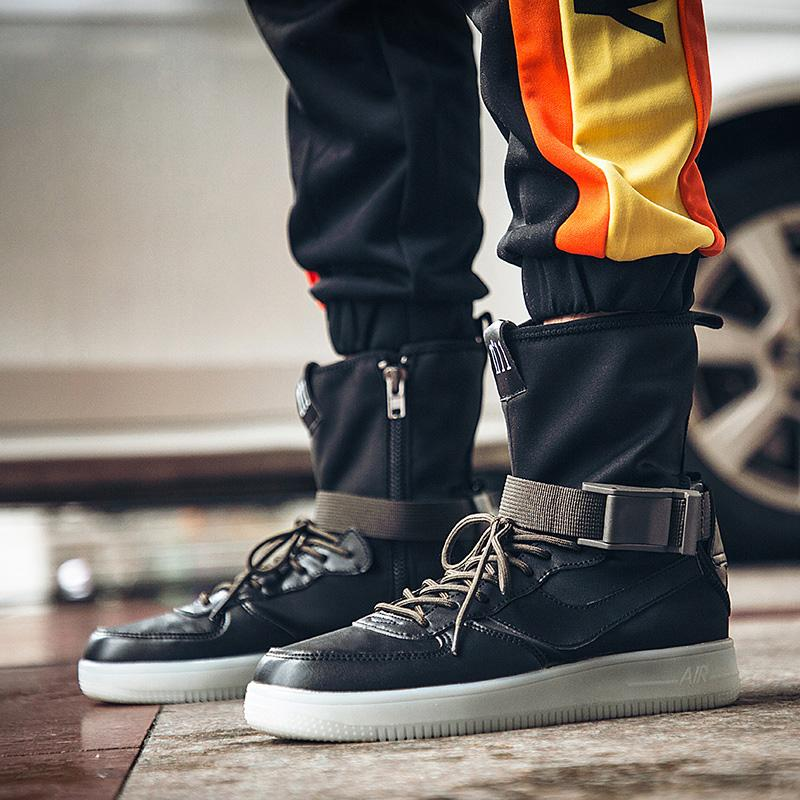 3958304bb0 Fashion Men Martin Boots Zipper High Top Sneakers Hip Hop Leather Casual  Shoes Buckle Thick Platform Flats Street Dancing Shoes Rain Boots Mens Shoes  From ...
