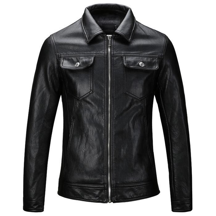 Azul marino / negro Jaqueta De Couro Homem Hombres Diseño simple Motocycle Chaqueta de cuero 2018 Nuevo estilo corto PU prendas de vestir exteriores