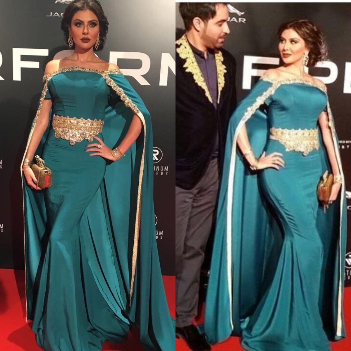 45883e93a7213 Fashionable Pakistani Dubai Evening Dresses Saudi Arabia Elegant Cape  Crystal Off Shoulder Prom Gowns Satin Elegant robes de soirée femme