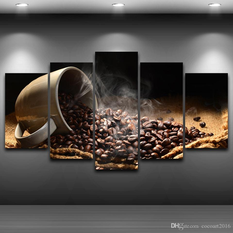 2019 5 panel coffee bean framed wall art picture spray oil painting decoration artistic printed drawing canvas printed home decor from cocoart2016
