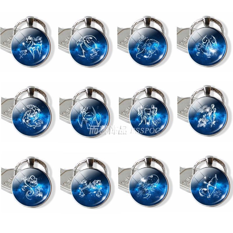 12 Zodiac Constellations Birthday Gift Cute Cabochon Signs Keyring Aries Leo Keychain Virgo Pisces Key Chain Ring Pendant Women Flashlight Best