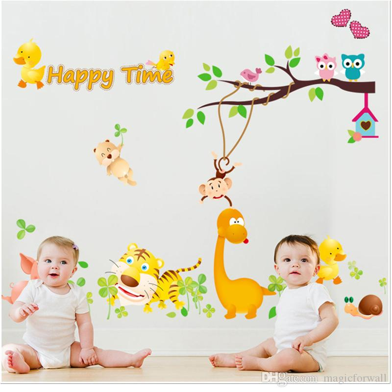 Owls Monkey Bird Playing on Tree Branches Wall Sticker Pig Tiger Duck Happy Time Wall Quote Poster Kids Nursery Infant Room Decor Wall Decal