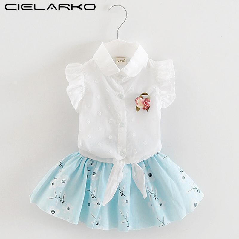 4b486cc063e9 2019 Cielarko Baby Girls Clothing Set White Shirt Skirt Flower ...