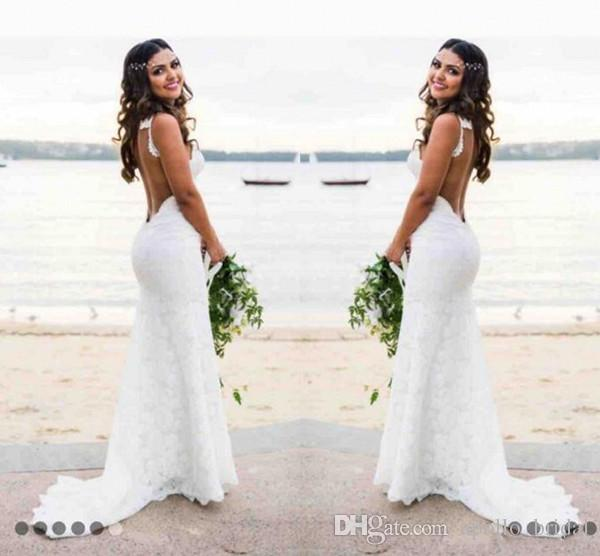 Discount 2018 Vintage Beach Wedding Dresses Mermaid Spaghetti Sweep ...